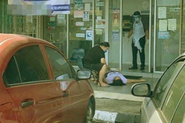 Tular gambar wanita rebah dan meninggal dunia di depan klinik. Ini rupanya yang berlaku